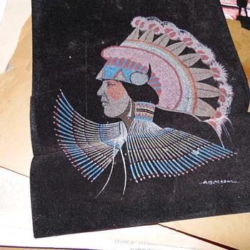 Native American Painting On Velvet Signed - Visual Art