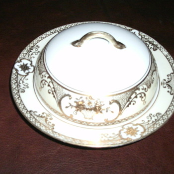 Noritake Gold Encrusted Flower Basket & Scroll Border Covered Butter Dish