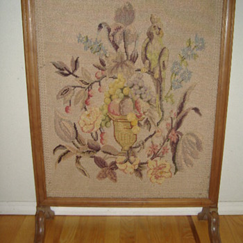 NEEDLEPOINT FIREPLACE SCREEN