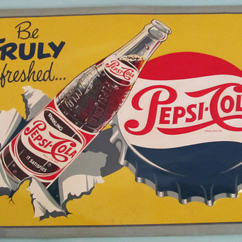 PEPSI-COLA 1950&#039;S SIGN, DIFFERENT! - Advertising