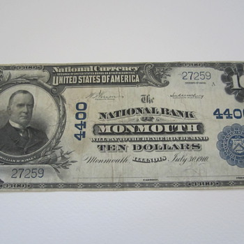 Ten Dollar National Bank Monmouth IL - US Paper Money