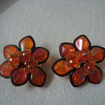 Orange clip-ons - Costume Jewelry