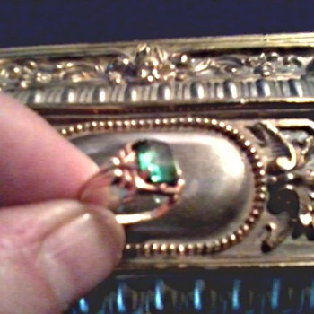 Little 10K Gold and Green Stone Ring / Two Crystal Necklaces / Circa 20th Century
