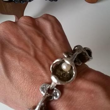 Ginormous Silver & Pearls Bracelet German Designers Burkhard & Monika OLY, Gelnhausen - Fine Jewelry