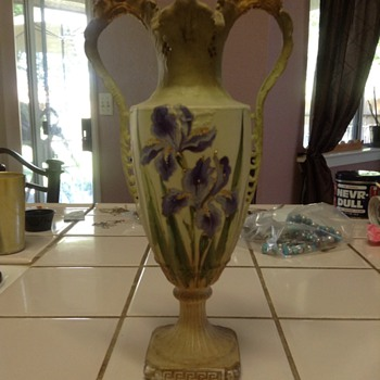 Vase with gold leaf paint from a thrift store - Art Pottery