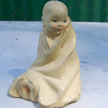 Antique Chalkware Baby Sitting up Wrapped In a Blanket