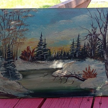 Winter Cabin On a Creek - Visual Art