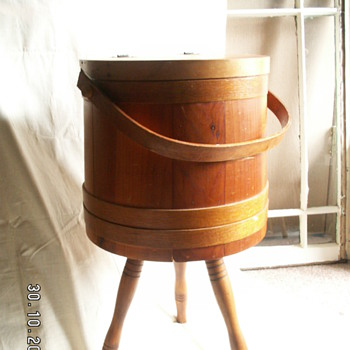 Large Firkin w/ Hinged Lid (converted into Sewing Cabinet)
