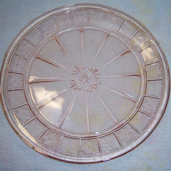 Pink Depression Glass plate in Doric Pattern Nice