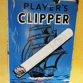Super Player's CLIPPER Cigarettes enamel porcelain sign 1930s