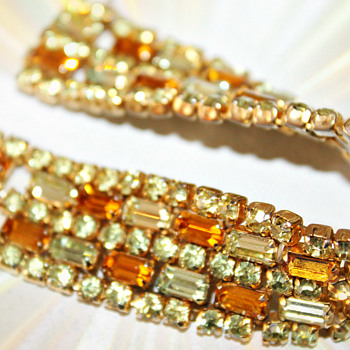 Sherman Bracelet With Citrine and Amber Stones - Art Deco
