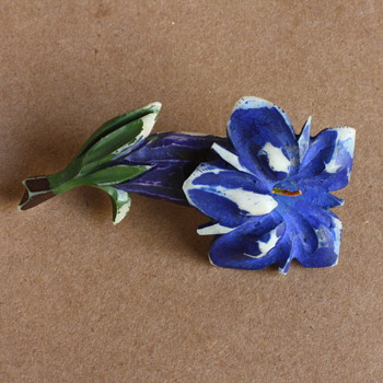 Gentian flower celluloid brooch - Costume Jewelry