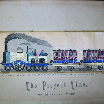 "1879 British Woven silk photogragh ""The Present Time"""