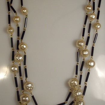 Signed Schiaparelli Flapper Length Tripple Stranded Glass Bead Necklace:) - Costume Jewelry