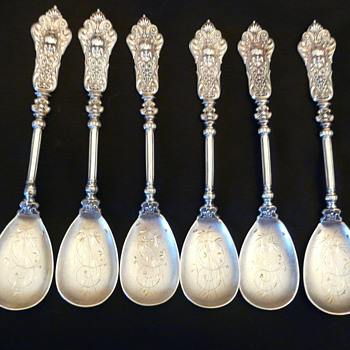 6 Sterling Dessert Spoons Continental (Europe) Renaissance Rivival - Sterling Silver