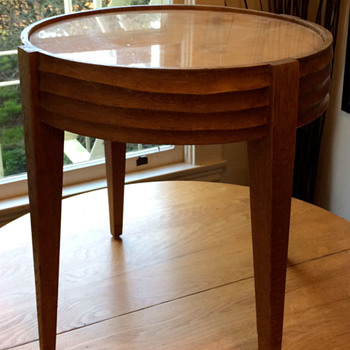 Circular End Table with Marble top and Hand Carved details?