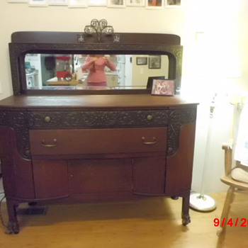 Mahogany Buffet with Scrollwork Mirror - Buffalo NY (late 1800's)