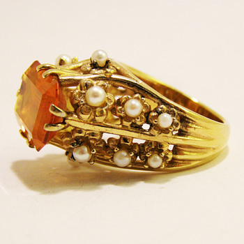 Vintage Panetta Monumental Citrine Pearl Ring - Costume Jewelry
