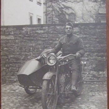 RPPC of WW1 soldier on motorcycle with sidecar - Postcards
