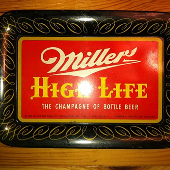 1952 miller brewing co. Litho tin tip tray