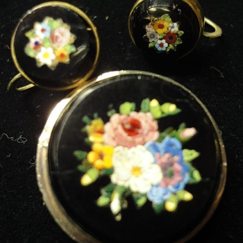 Round Micro Mosaic Flower brooch and earrings