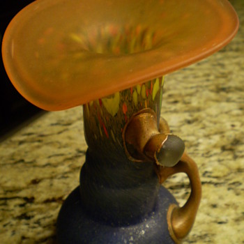 Puzzling Art Nouveau Vase Bronze Overlay - Art Glass
