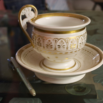 Moghul era Cup &amp; Saucer with gold artwork. - Art Pottery