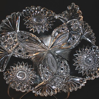 American Brilliant Cut Glass Hawks, Rare Chrysanthemum Pattern