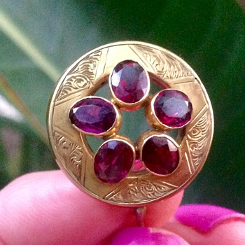 Victorian?  Engraved Gold and Garnet Brooch