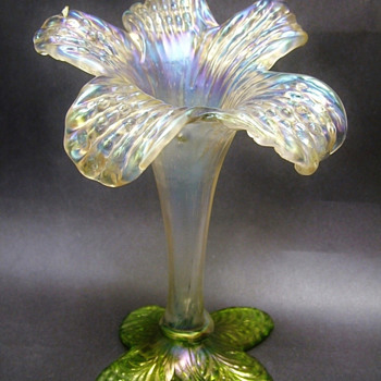 Gorgeous Kralik Art Nouveau era Lily Floriform Vase - Art Glass