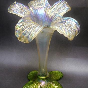 Gorgeous Kralik Art Nouveau era Lily Floriform Vase - Art Glass