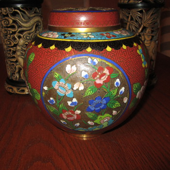 "Antique Cloisonne Urn // Vase...Multi Color (8 or 9) Enamel On Brass 6.5""  - Asian"