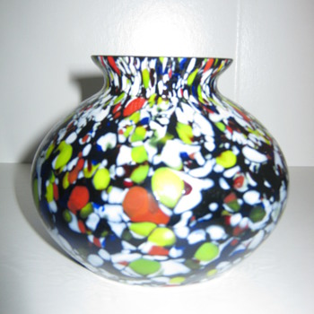 Czechoslovakia Kralik Cobalt glass vase with red, white, green and blue mottling - Art Glass