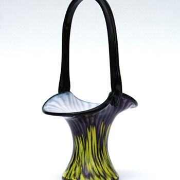 Franz Welz Purple/Yellow stripes and spots Basket vase