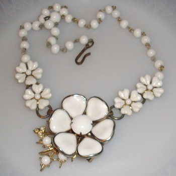Poured milk glass necklace, coro necklace and brooch.
