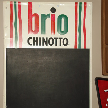 VINTAGE 1970'S BRIO CHINOTTO SODA ADVERTISING SIGN. CLASSIC!
