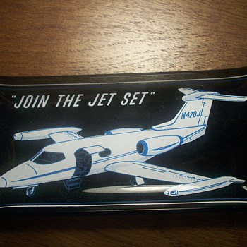 What is it? Glass clear-brown airplane ashtray - Tobacciana