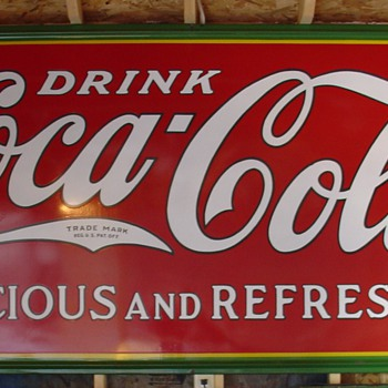 1932 Coca-Cola Porcelain Sign...Delicious and Refreshing - Coca-Cola