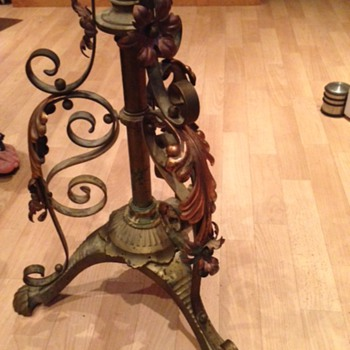 BRASS & COPPER OIL STANDARD LAMP FIND