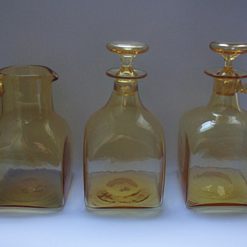 Amber jug, Decanter, and Claret Jug