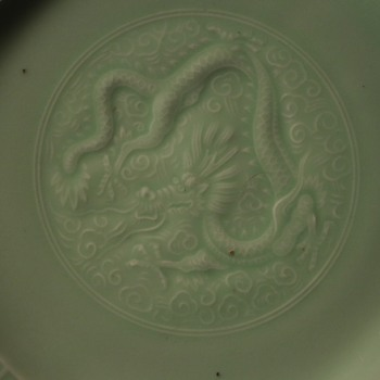 Shallow Celadon Bowl with Incised Dragon