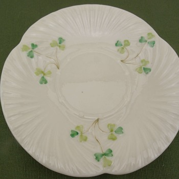 Belleek Harp Shamrock Saucer - 3rd mark - Pottery