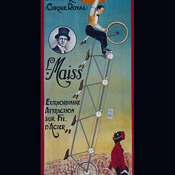 French Circus Poster Black Man on Bicycle  - Posters and Prints