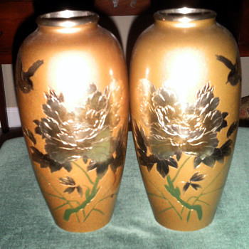 Beautiful  Painted Pair Of Vases from Japan