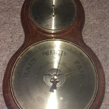 German Made Barometer, two dial three function, not in the banjo style, wood brass and glass.