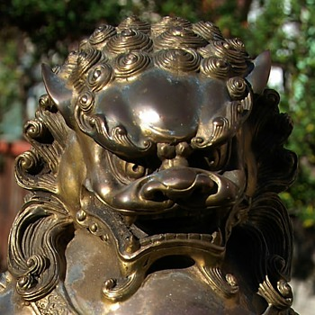 Buddhist Lion / Fu Dog - Gilded Bronze - Asian