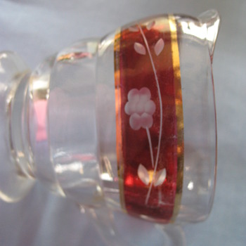 WHAT IS THIS? Depression Glass Creamer-Red dip gold trim