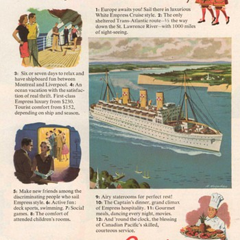 1952 - Canadian Pacific Cruise Line Advertisement