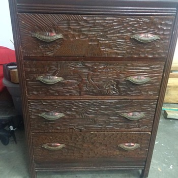 Very old chest, wood canisters are odd, tarnish handle coloring never seen.  - Furniture