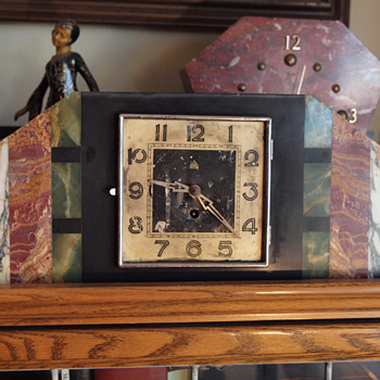 Four color marble REX Clock - Art Deco
